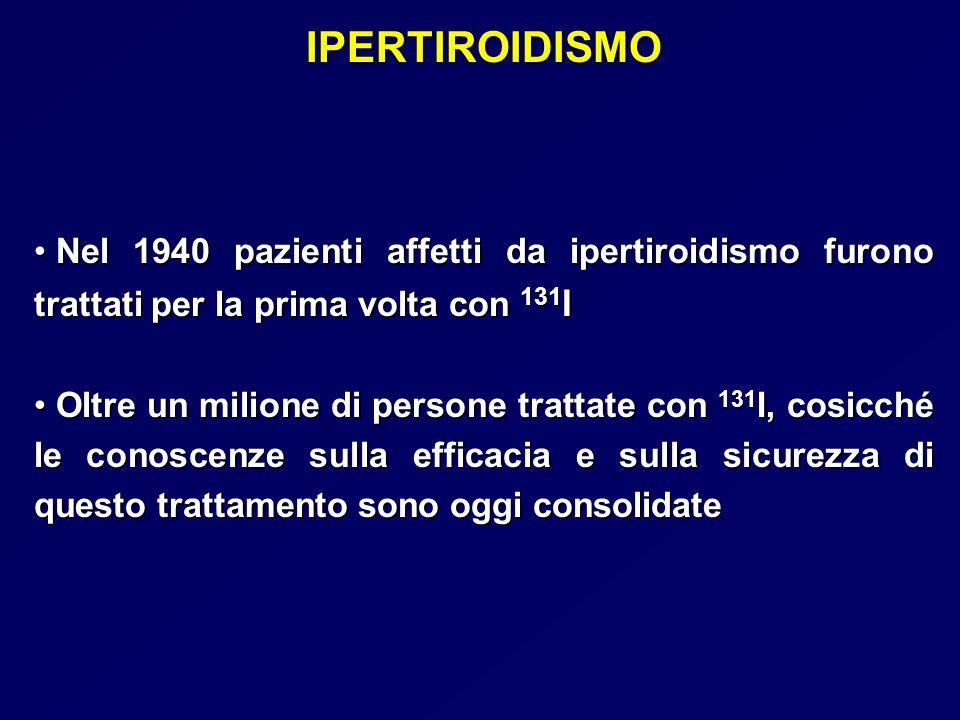 IPERTIROIDISMO Nel 1940 pazienti affetti da ipertiroidismo furono trattati per la prima volta con 131I.