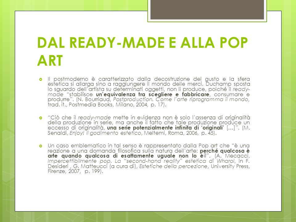 DAL READY-MADE E ALLA POP ART