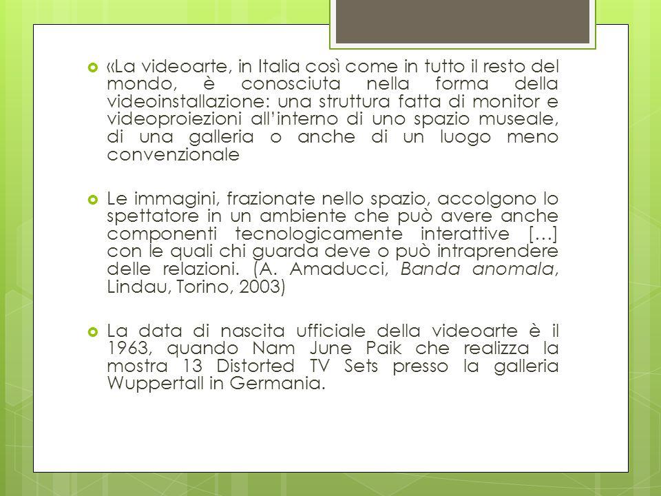«La videoarte, in Italia così come in tutto il resto del mondo, è conosciuta nella forma della videoinstallazione: una struttura fatta di monitor e videoproiezioni all'interno di uno spazio museale, di una galleria o anche di un luogo meno convenzionale