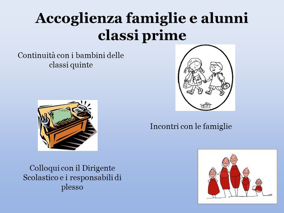 Accoglienza famiglie e alunni classi prime