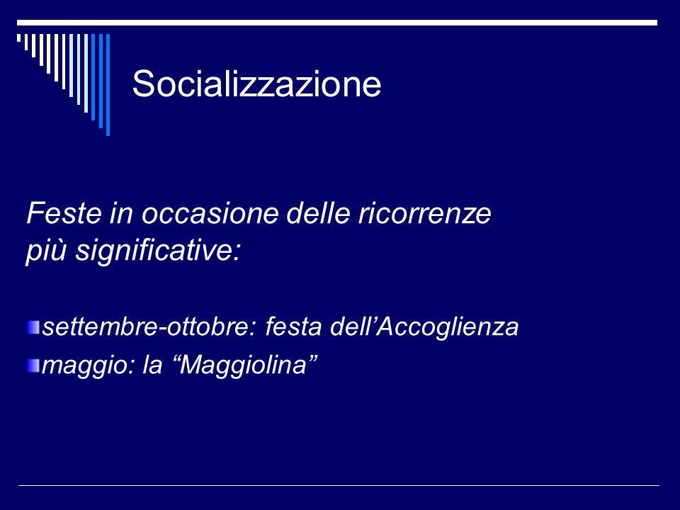 Socializzazione Feste in occasione delle ricorrenze più significative: