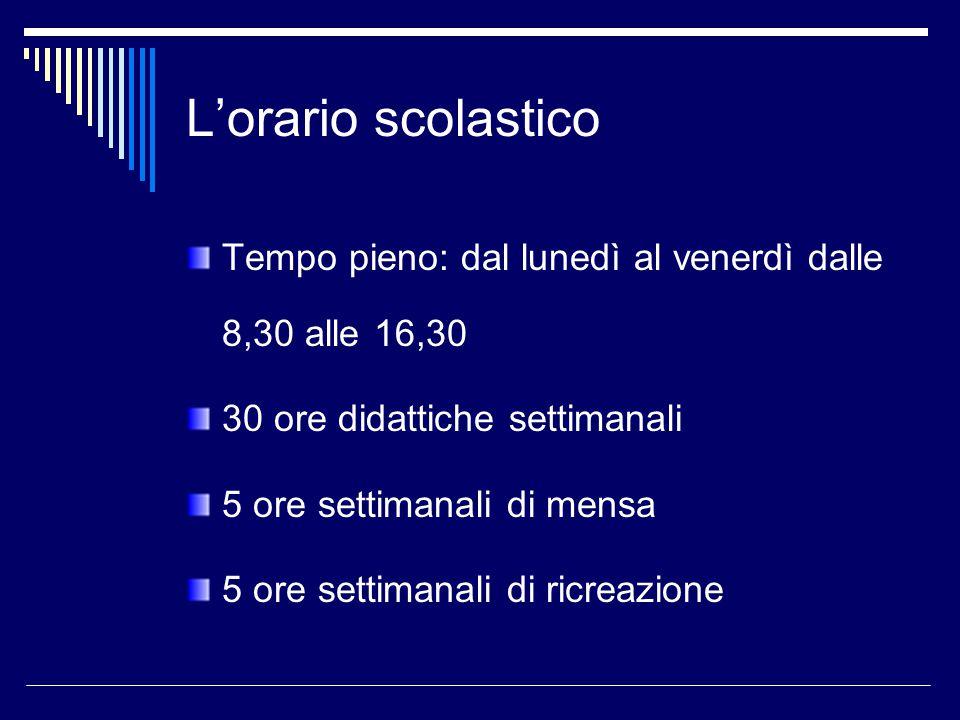 L'orario scolastico Tempo pieno: dal lunedì al venerdì dalle 8,30 alle 16,30. 30 ore didattiche settimanali.