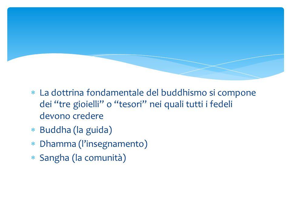 La dottrina fondamentale del buddhismo si compone dei tre gioielli o tesori nei quali tutti i fedeli devono credere