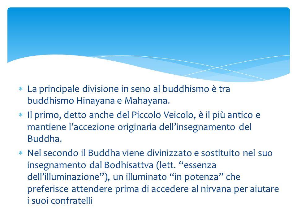 La principale divisione in seno al buddhismo è tra buddhismo Hinayana e Mahayana.