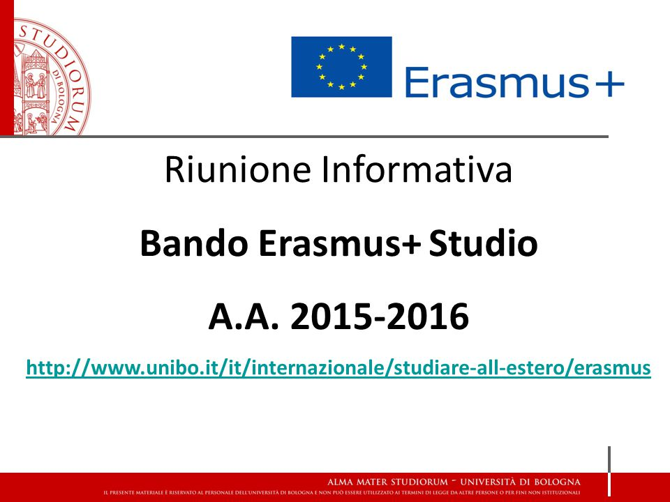 Bando Erasmus+ Studio A.A. 2015-2016