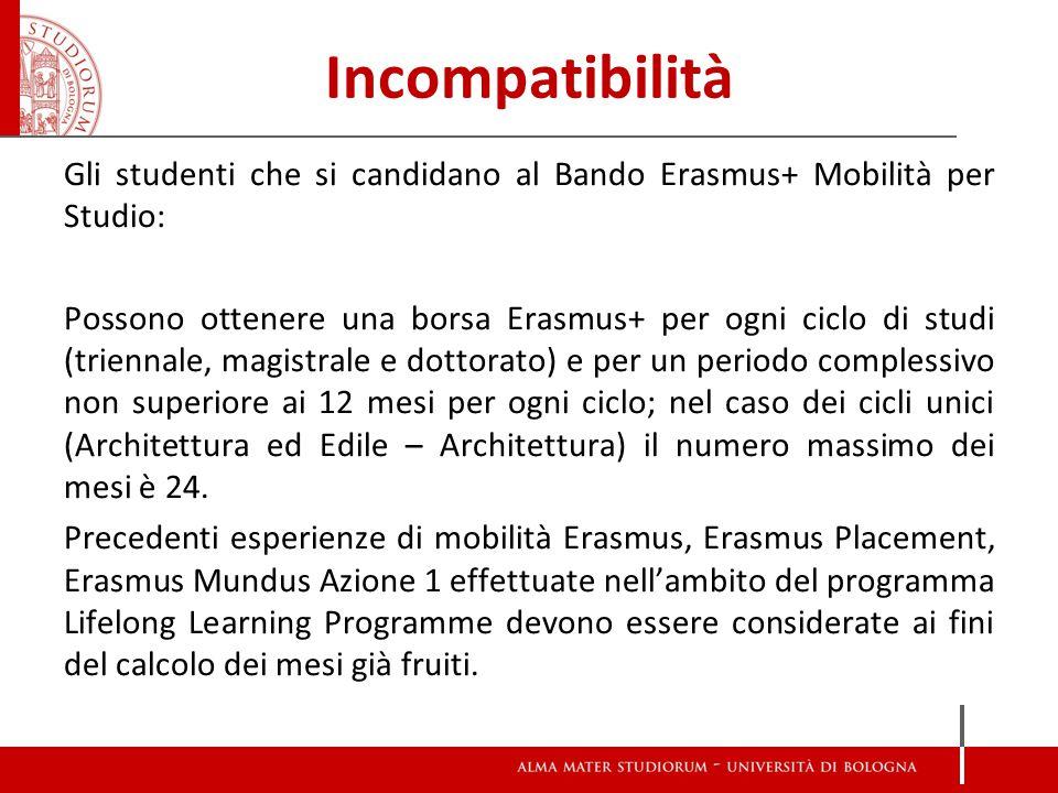 Incompatibilità Gli studenti che si candidano al Bando Erasmus+ Mobilità per Studio: