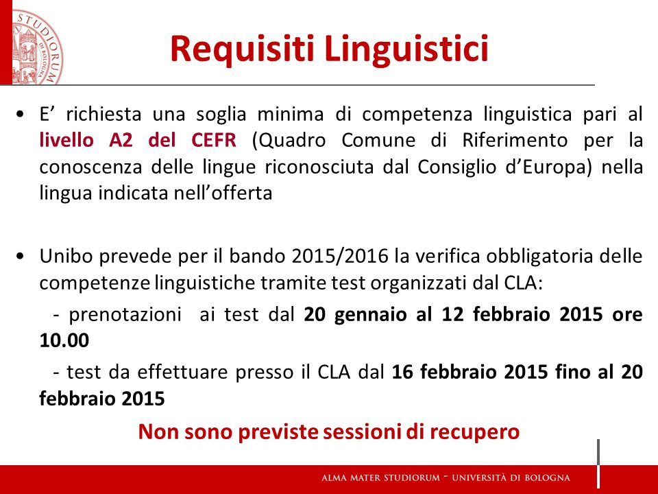 Requisiti Linguistici