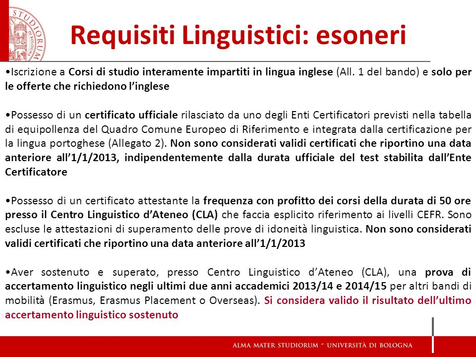 Requisiti Linguistici: esoneri