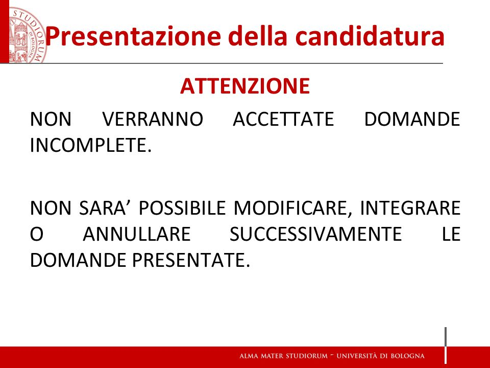 Presentazione della candidatura