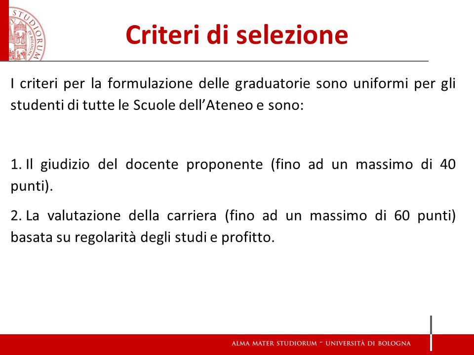 Criteri di selezione I criteri per la formulazione delle graduatorie sono uniformi per gli studenti di tutte le Scuole dell'Ateneo e sono: