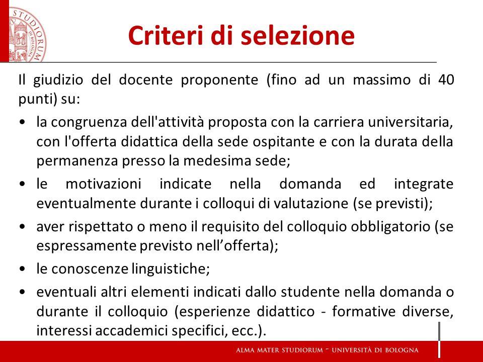 Criteri di selezione Il giudizio del docente proponente (fino ad un massimo di 40 punti) su: