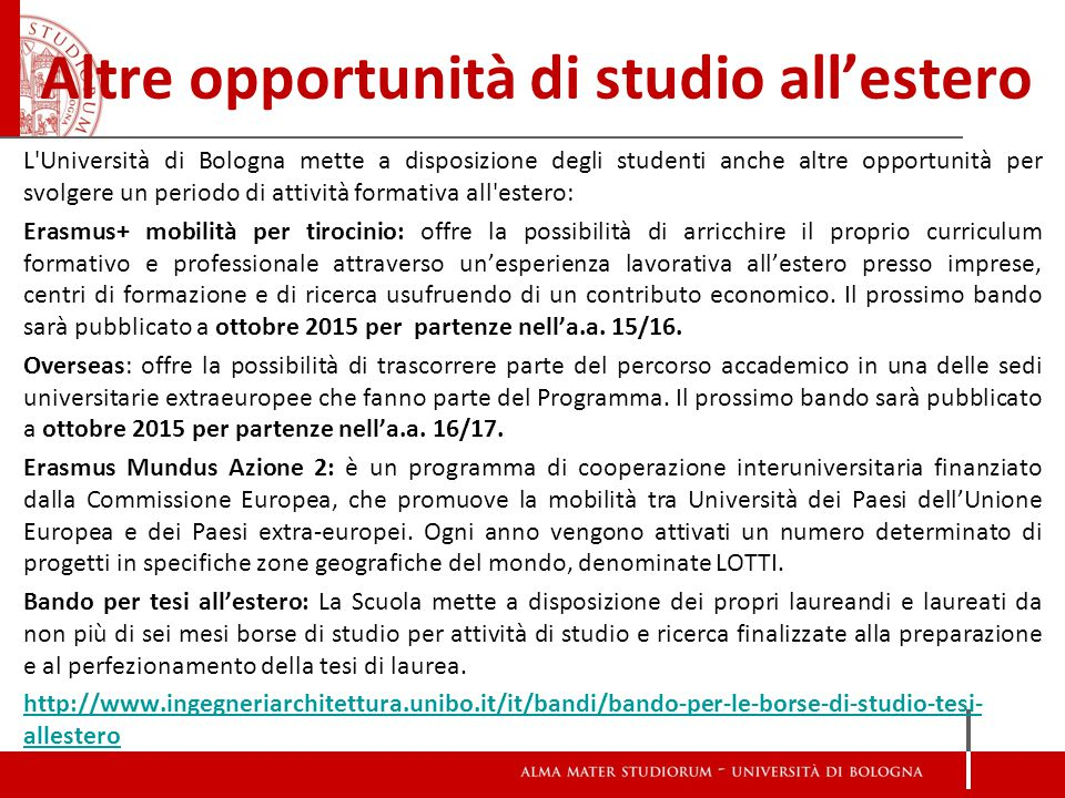 Altre opportunità di studio all'estero