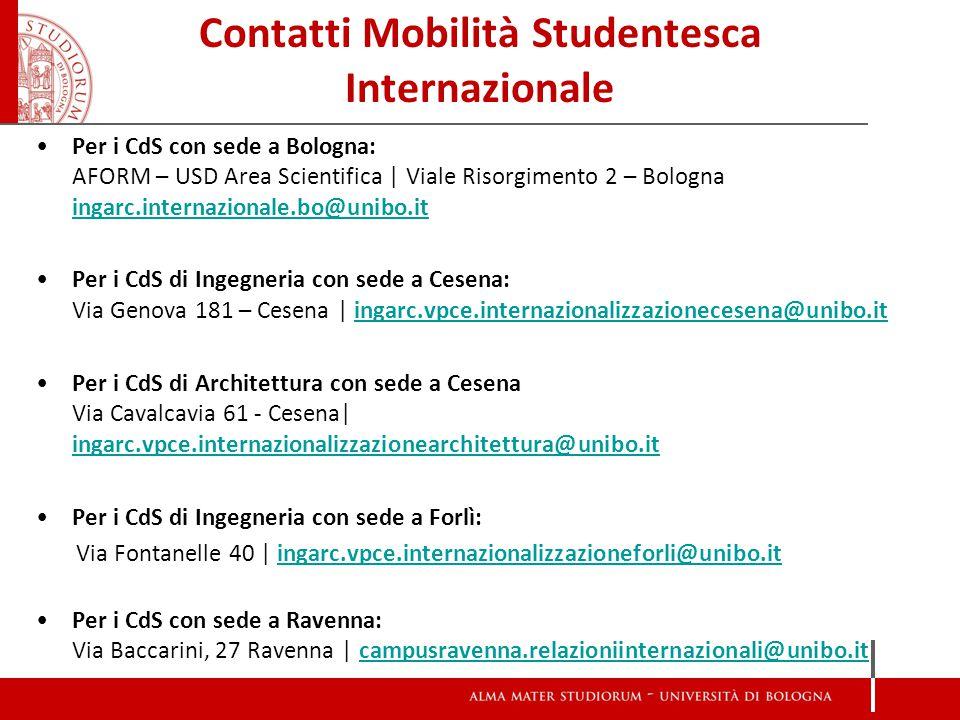 Contatti Mobilità Studentesca Internazionale