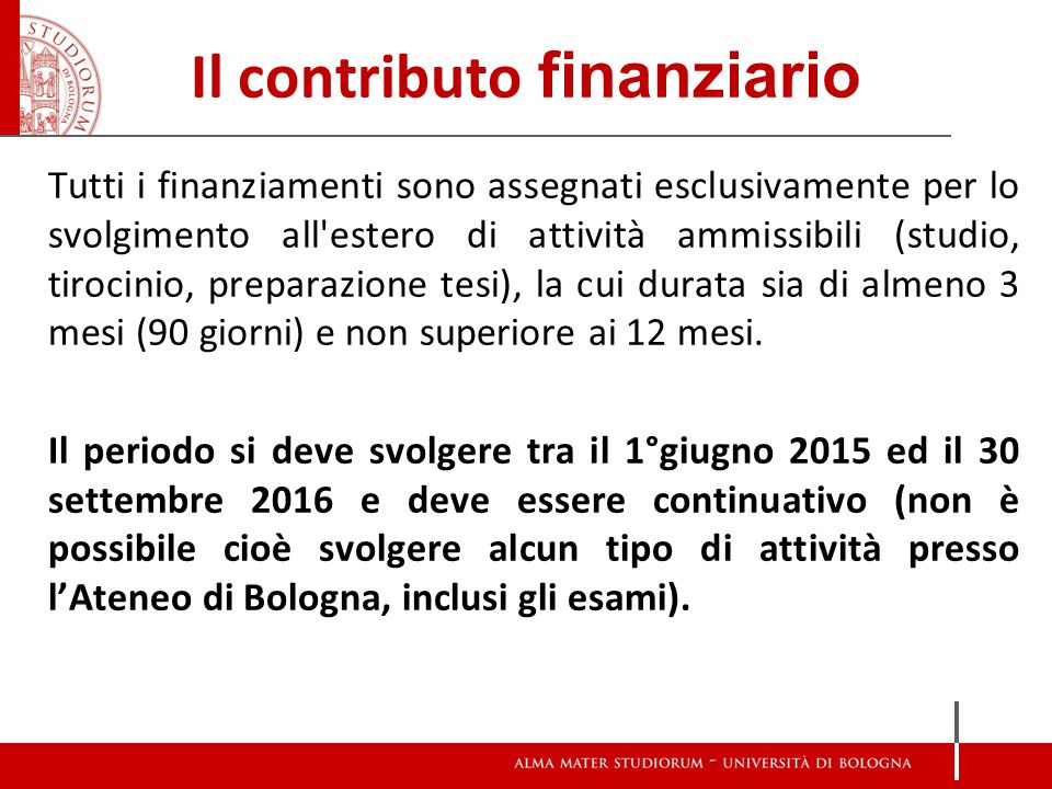 Il contributo finanziario