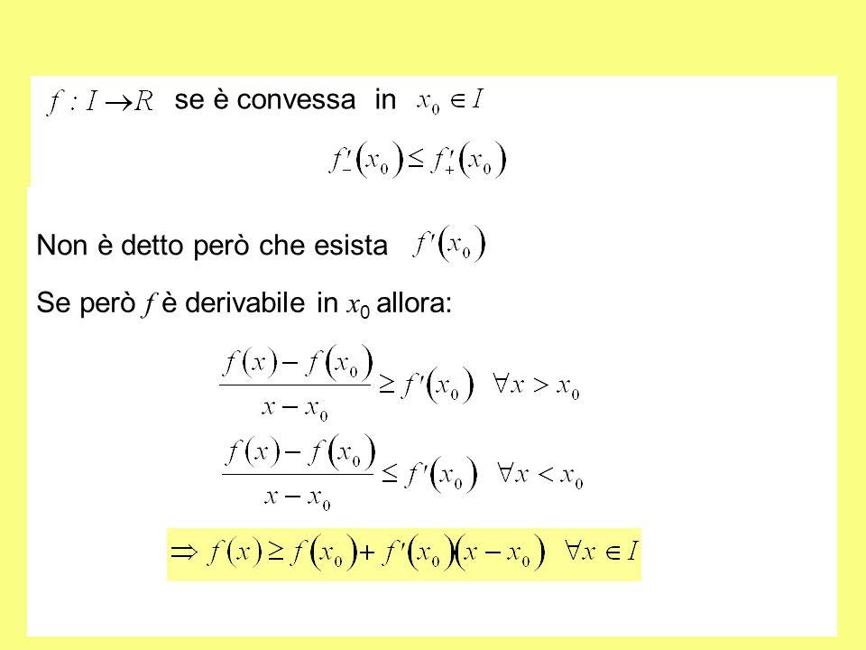 se è convessa in Non è detto però che esista Se però f è derivabile in x0 allora: