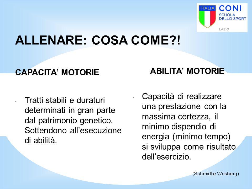 ALLENARE: COSA COME ! ABILITA' MOTORIE CAPACITA' MOTORIE