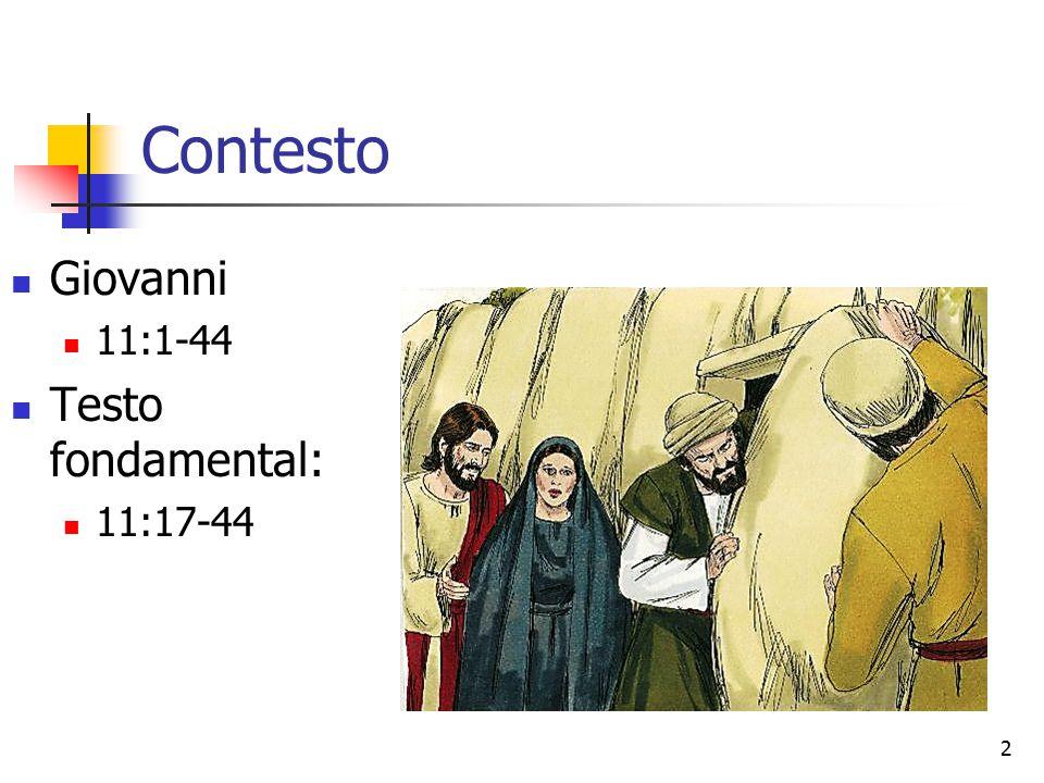 Contesto Giovanni 11:1-44 Testo fondamental: 11:17-44