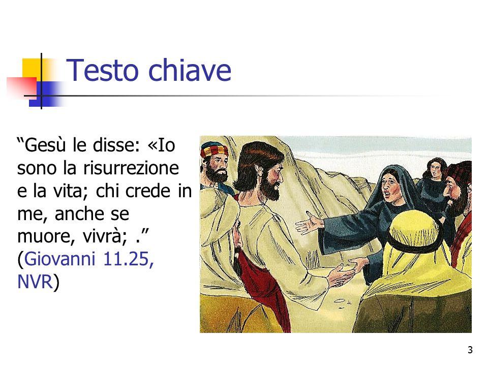 Testo chiave Gesù le disse: «Io sono la risurrezione e la vita; chi crede in me, anche se muore, vivrà; . (Giovanni 11.25, NVR)
