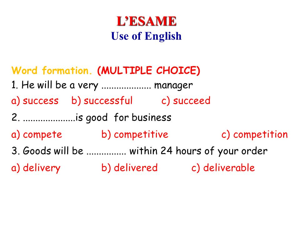 Inglese 1999-2000 L'ESAME. Use of English.