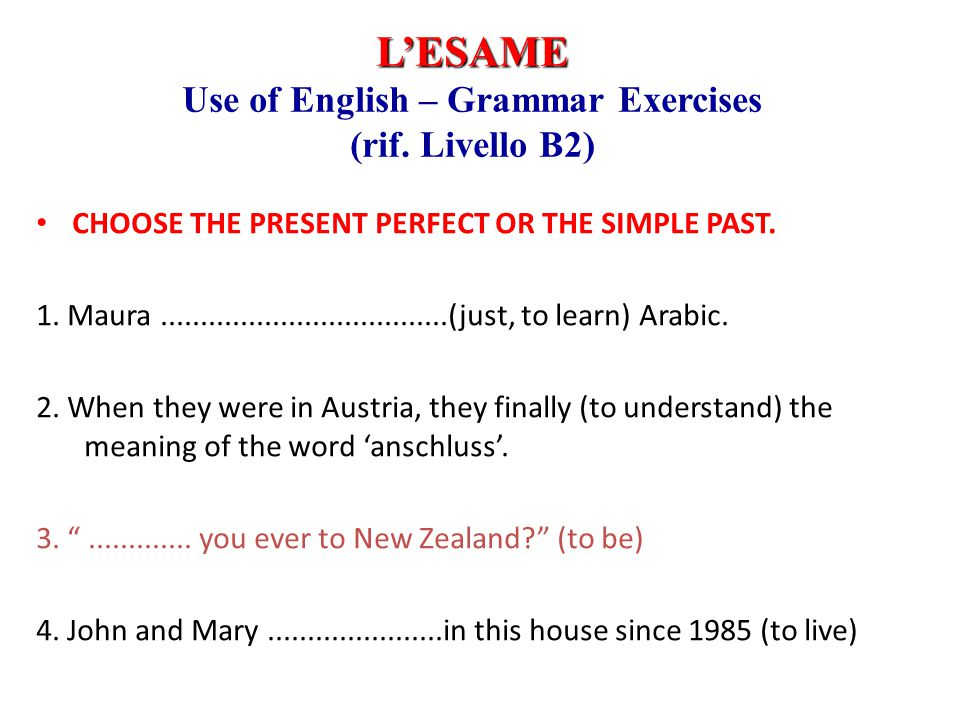 Use of English – Grammar Exercises