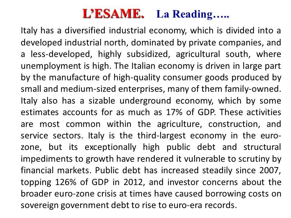 Inglese 1999-2000 L'ESAME. La Reading…..