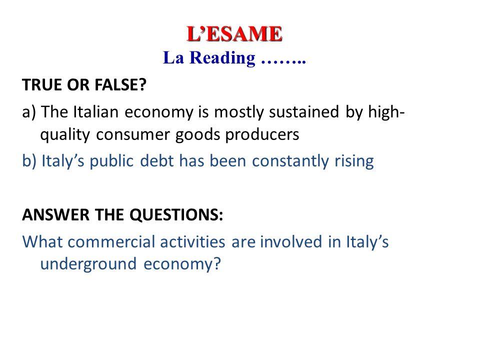 Inglese 1999-2000 L'ESAME. La Reading ……..