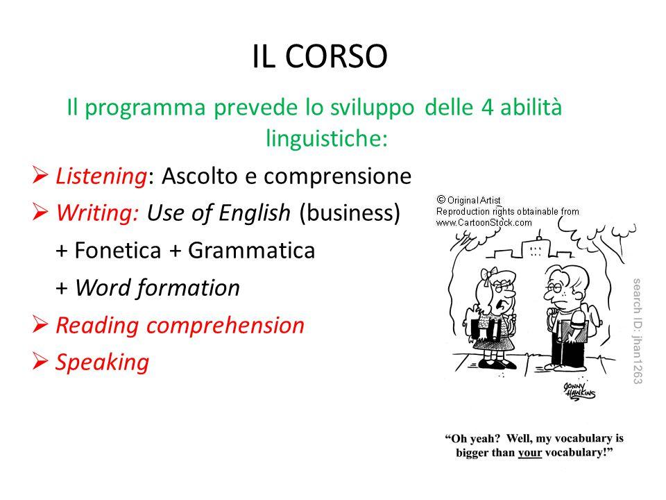 Il programma prevede lo sviluppo delle 4 abilità linguistiche: