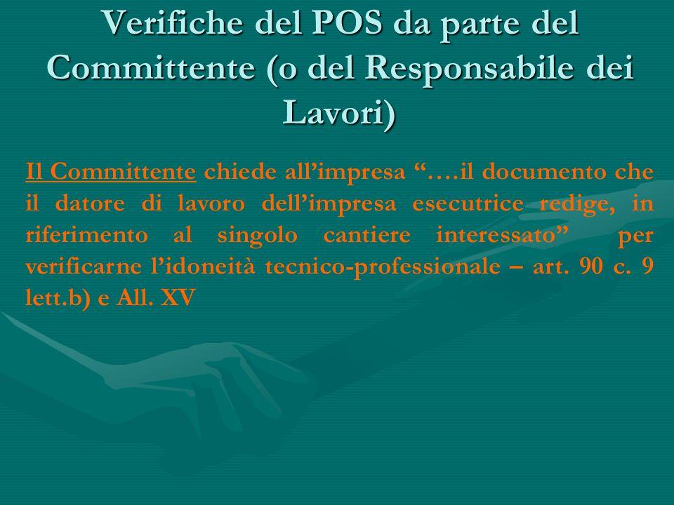 Verifiche del POS da parte del Committente (o del Responsabile dei Lavori)