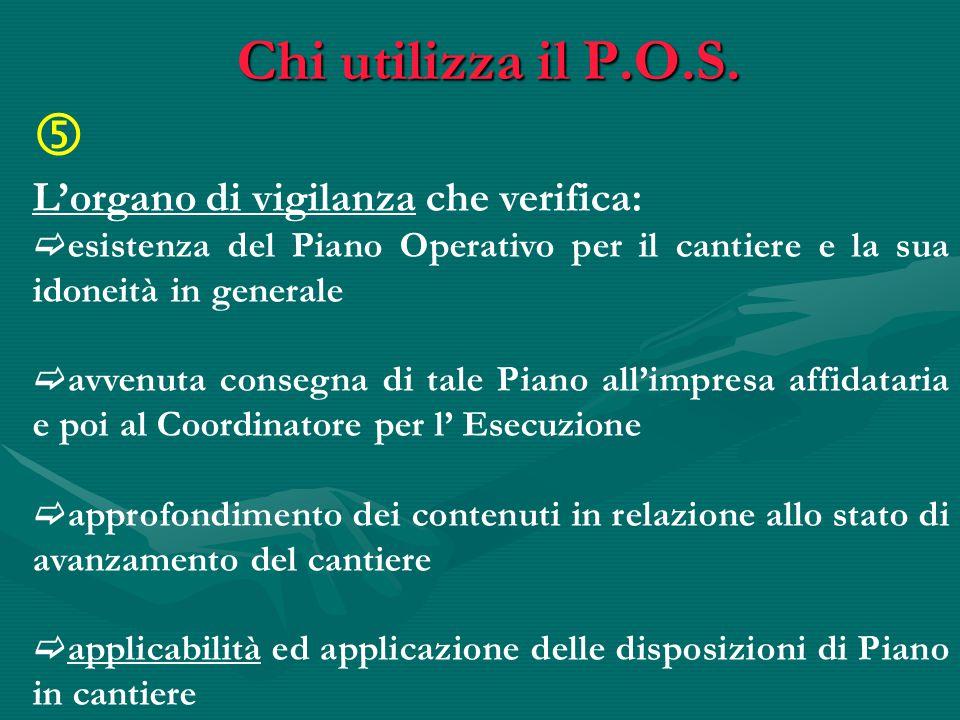 Chi utilizza il P.O.S.  L'organo di vigilanza che verifica:
