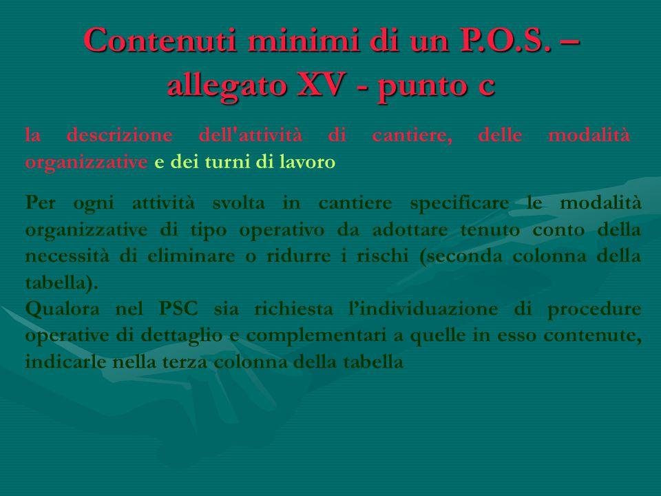Contenuti minimi di un P.O.S. – allegato XV - punto c