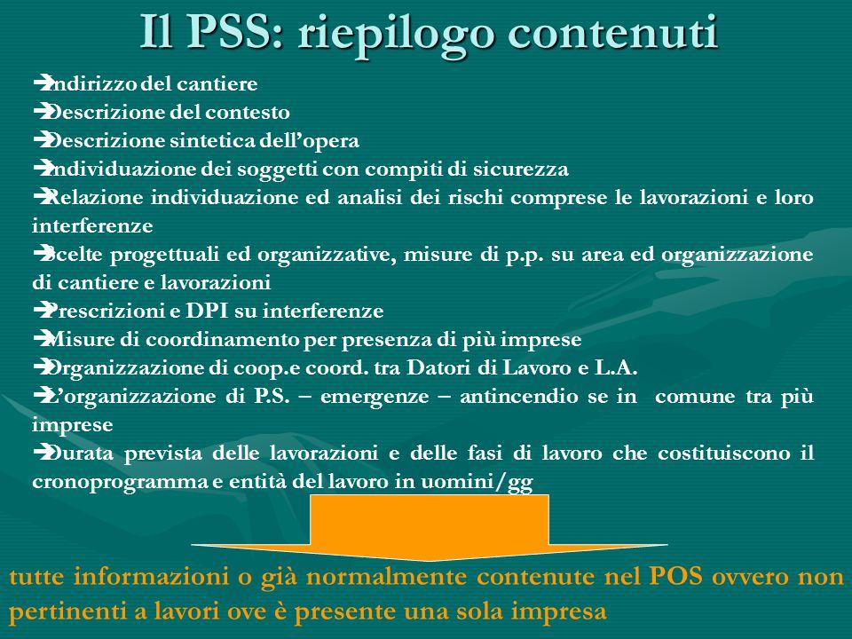 Il PSS: riepilogo contenuti