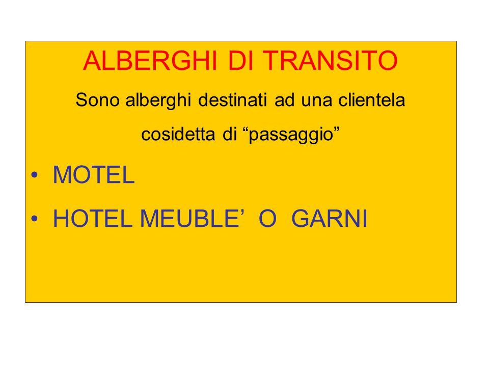 ALBERGHI DI TRANSITO MOTEL HOTEL MEUBLE' O GARNI