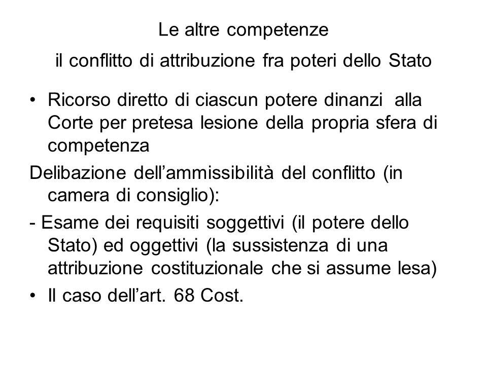 Le altre competenze il conflitto di attribuzione fra poteri dello Stato