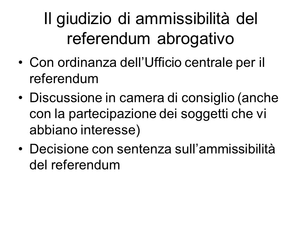 Il giudizio di ammissibilità del referendum abrogativo