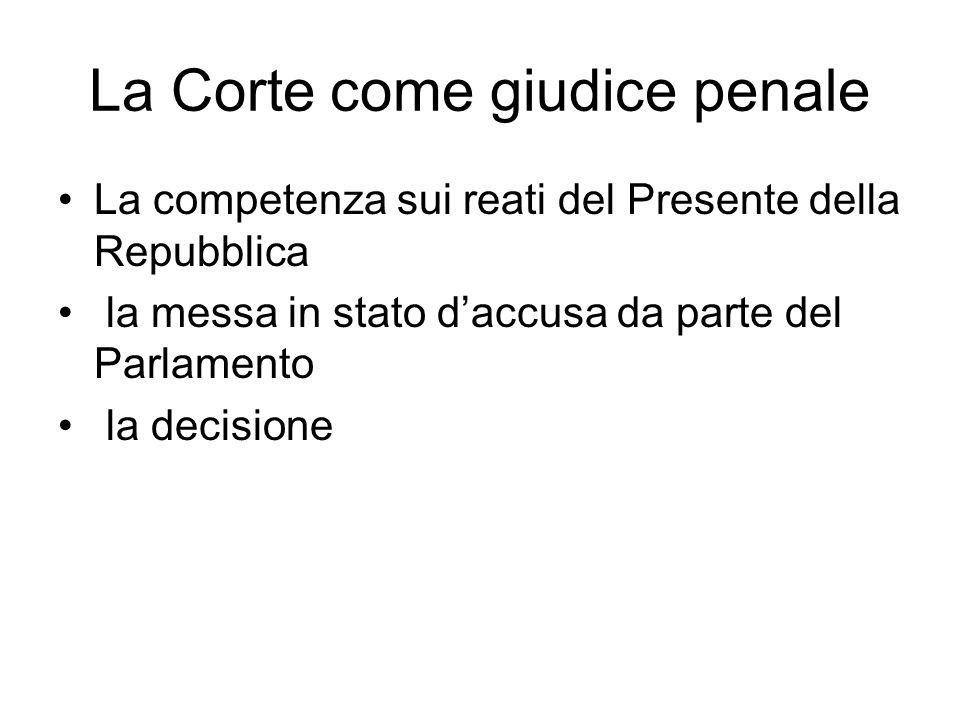 La Corte come giudice penale