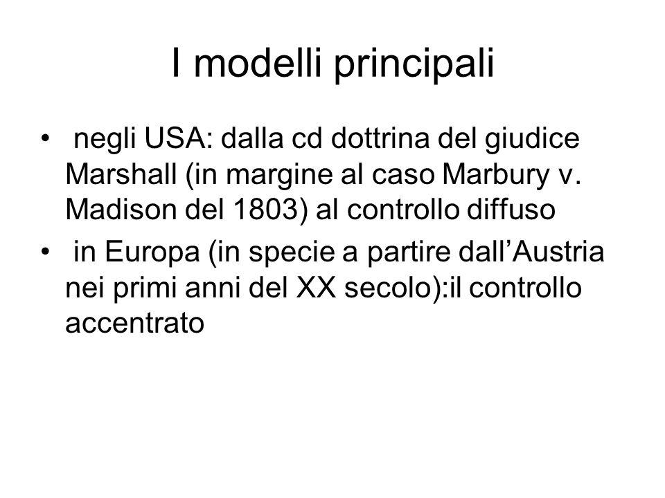I modelli principali negli USA: dalla cd dottrina del giudice Marshall (in margine al caso Marbury v. Madison del 1803) al controllo diffuso.
