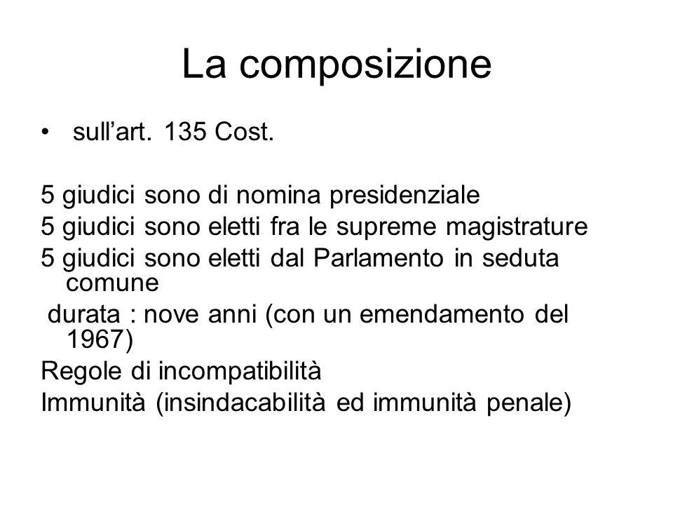 La composizione sull'art. 135 Cost.