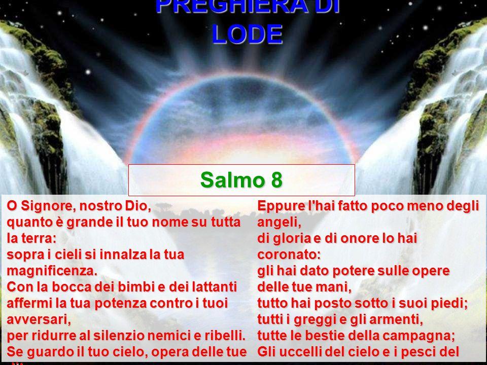 PREGHIERA DI LODE Salmo 8 O Signore, nostro Dio,