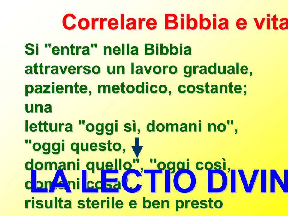 LA LECTIO DIVINA Correlare Bibbia e vita