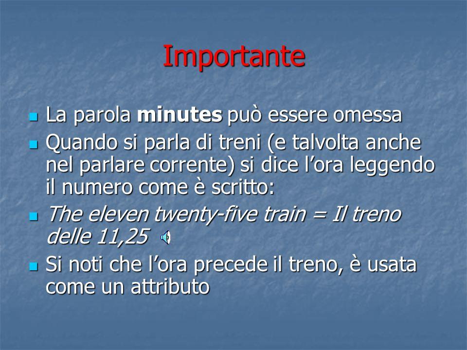 Importante La parola minutes può essere omessa