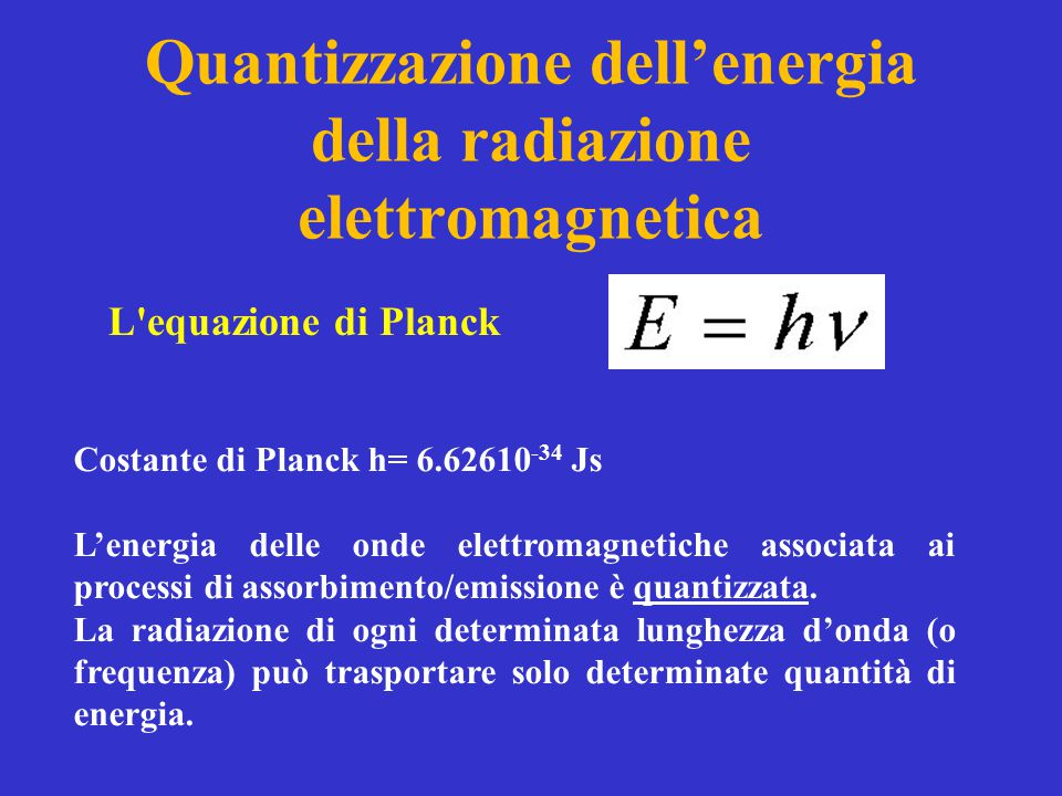 Quantizzazione dell'energia della radiazione elettromagnetica