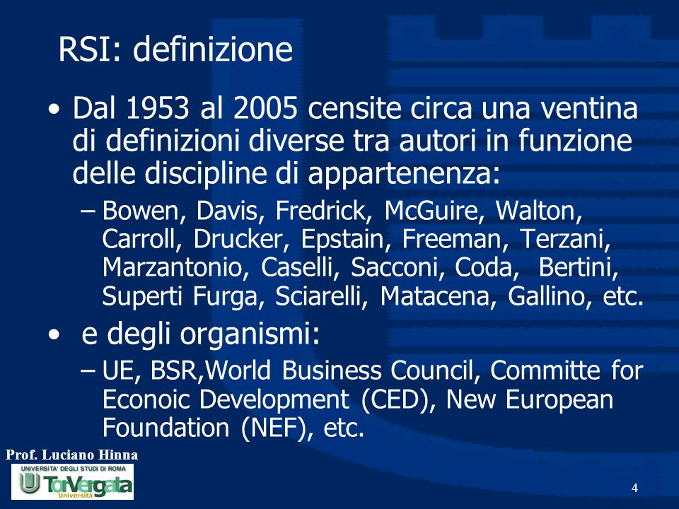 RSI: definizione Dal 1953 al 2005 censite circa una ventina di definizioni diverse tra autori in funzione delle discipline di appartenenza: