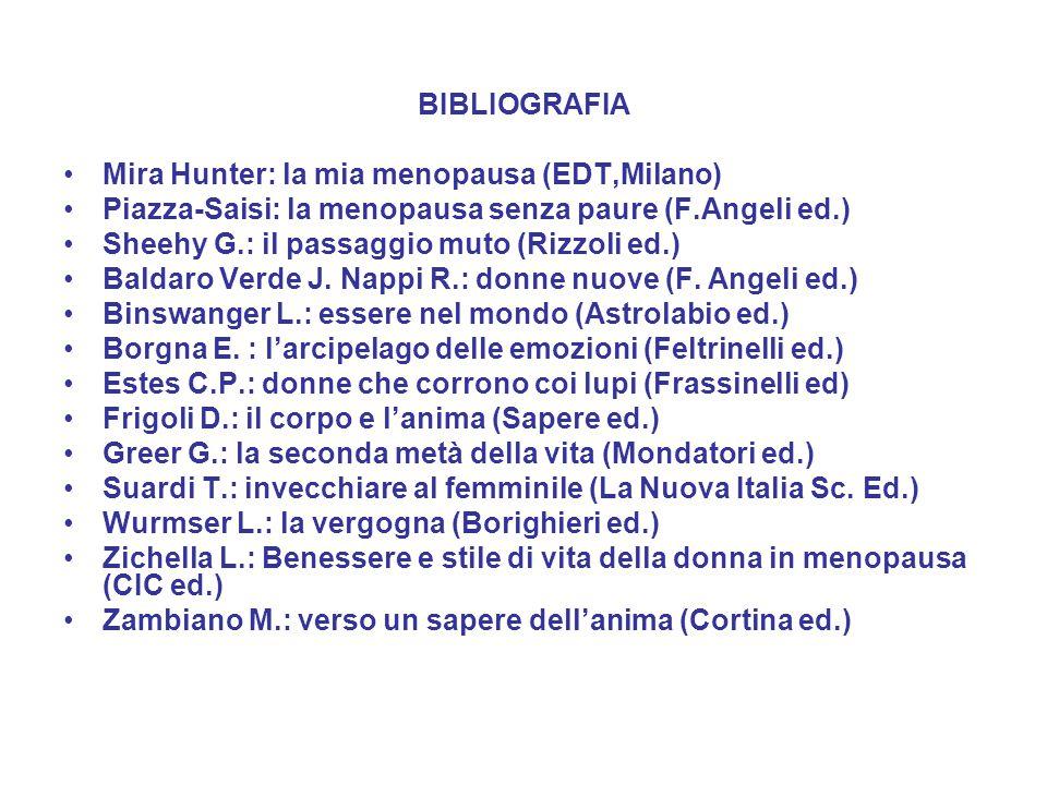 BIBLIOGRAFIA Mira Hunter: la mia menopausa (EDT,Milano) Piazza-Saisi: la menopausa senza paure (F.Angeli ed.)
