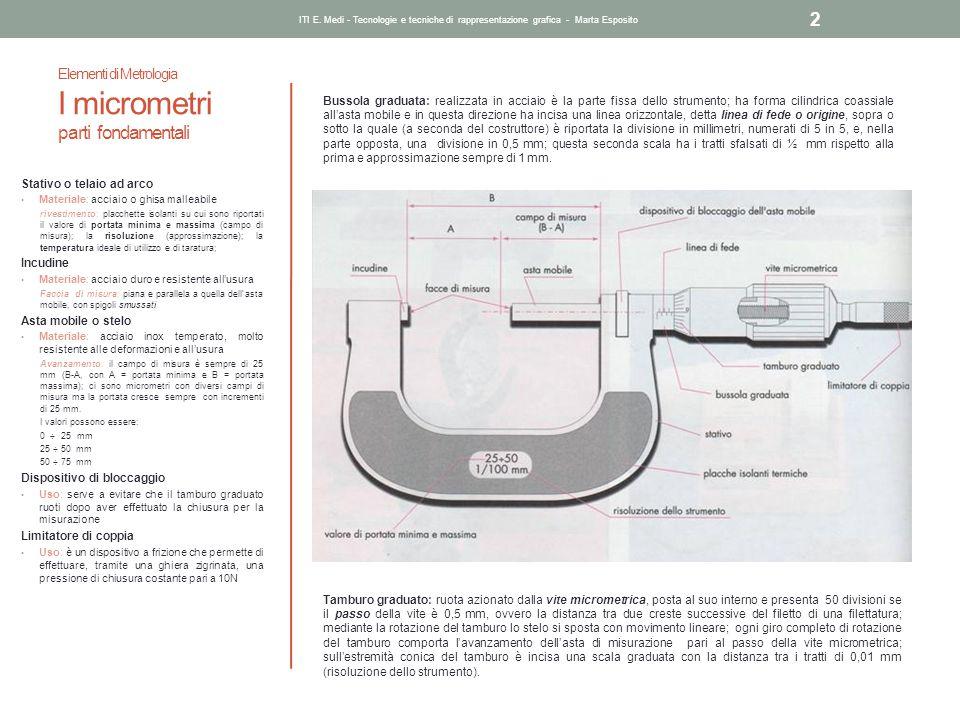 Elementi di Metrologia I micrometri parti fondamentali