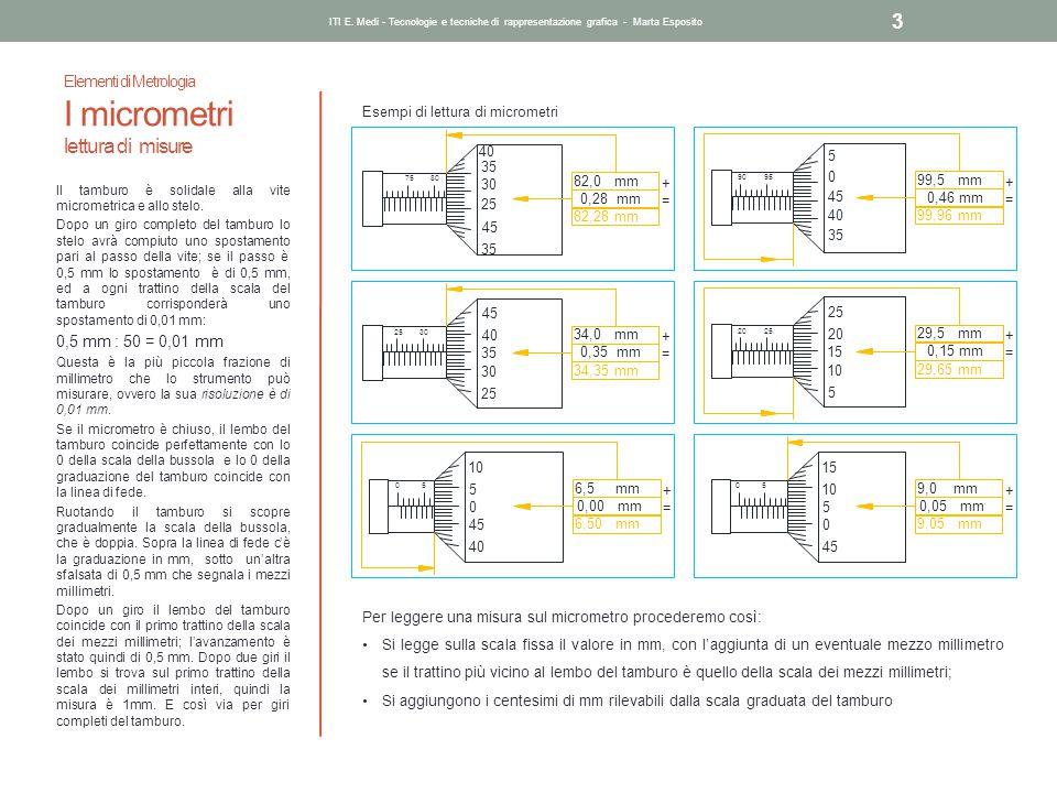 Elementi di Metrologia I micrometri lettura di misure