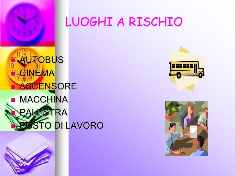 LUOGHI A RISCHIO AUTOBUS CINEMA ASCENSORE MACCHINA PALESTRA