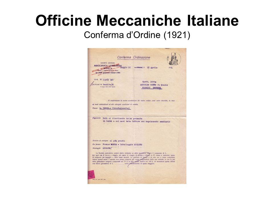 Officine Meccaniche Italiane Conferma d'Ordine (1921)