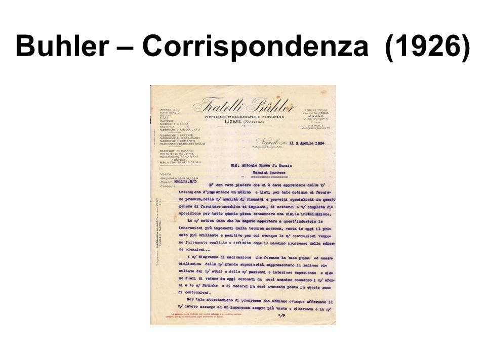 Buhler – Corrispondenza (1926)