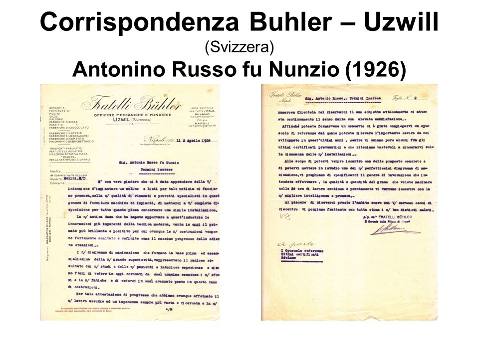 Corrispondenza Buhler – Uzwill (Svizzera) Antonino Russo fu Nunzio (1926)