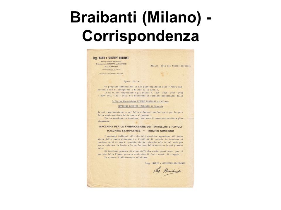Braibanti (Milano) - Corrispondenza